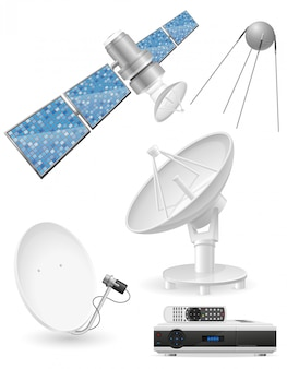 Set of realistic satellite broadcasting vector illustration
