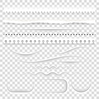 Set of realistic semitransparent white paper decorative dividers, cut torn ripped edges with shadows.
