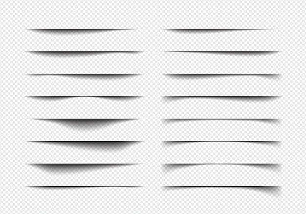 Set of realistic shadow effect different shapes, page separation