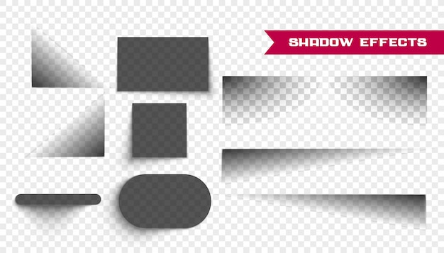 Set di ombre realistiche su trasparente