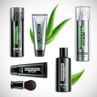 Set of realistic shaving cosmetics with brush including products with aloe vera isolated 3d illustration
