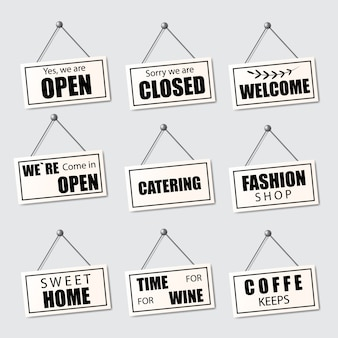 Set of realistic signs open, closed and welcome