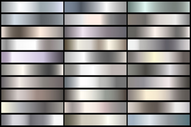 Set of realistic silver gradients. vector metal collection for border, frame, ribbon design.