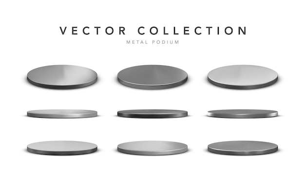 Set of realistic silver stage podium isolated on white