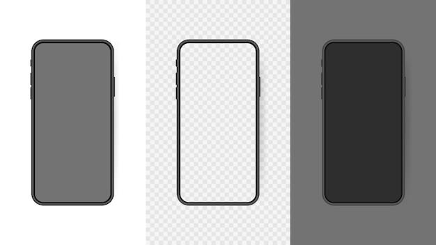 Установите реалистичный пустой экран смартфона, телефон, изолированные на прозрачном фоне. шаблон для инфографики или интерфейса пользовательского интерфейса презентации.