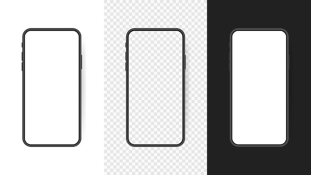 Set realistic smartphone blank screen, phone  isolated on transparent background. template for infographics or presentation ui  interface. Premium Vector