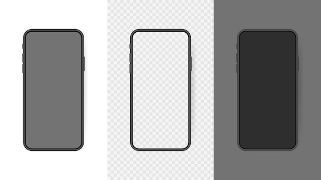 Set realistic smartphone blank screen, phone  isolated on transparent background. template for infographics or presentation ui  interface.