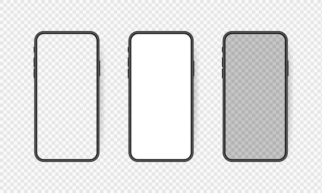 Set realistic smartphone blank screen, phone   on transparent background. template for infographics or presentation ui  interface. Premium Vector