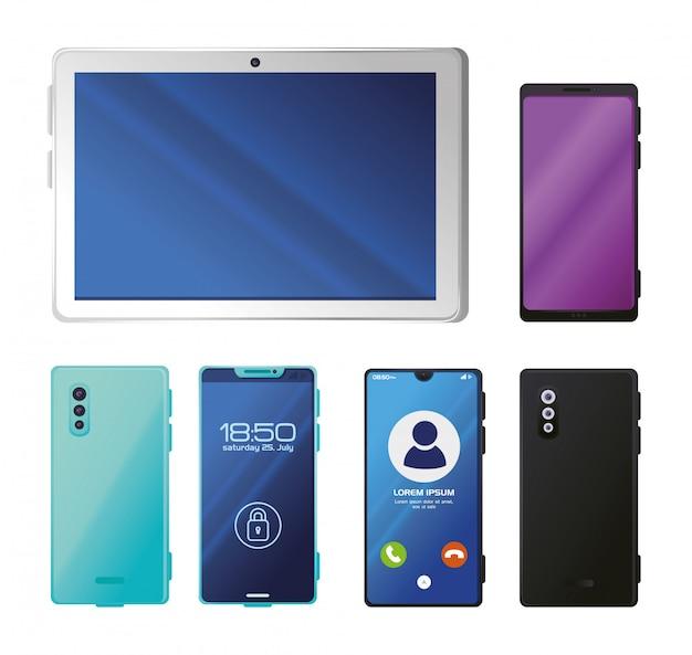現実的なスマートフォンとタブレットのモックアップを設定する
