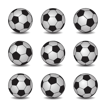 Set of realistic soccer balls with shadows