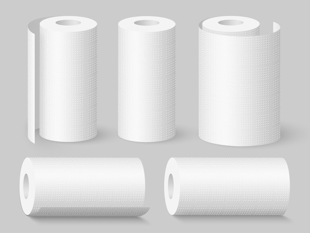 Set of realistic soft kitchen towel rolls.