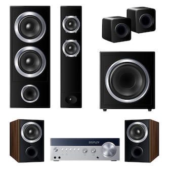 Set of realistic speakers of various size and center audio device isolated illustration