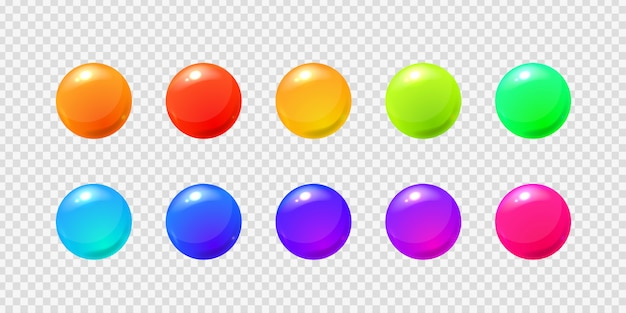 Set of realistic  sphere balls on the transparent background for decoration and covering.