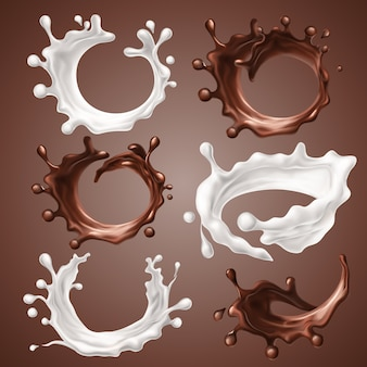 Set of realistic splashes and drops of milk and melted chocolate.