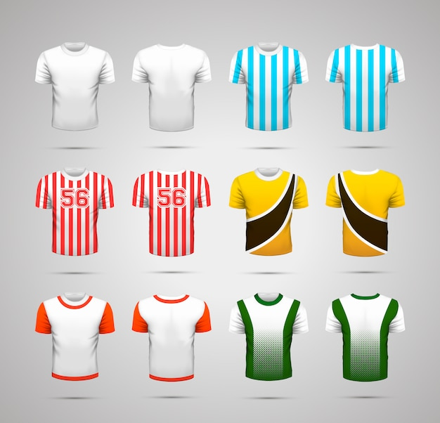 Set of realistic sport t-shirts with bright colorful prints for different commands  on white