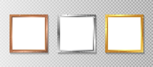 Set realistic square photo frame with luxury design