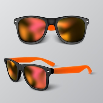 Set of realistic sunglass with red lens  on gray backgroud.  illustration.