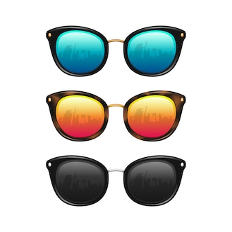 Set of realistic sunglasses with city reflection