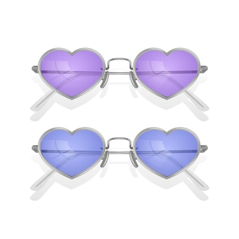 Set of realistic sunglasses with colored frames with shape of hearts
