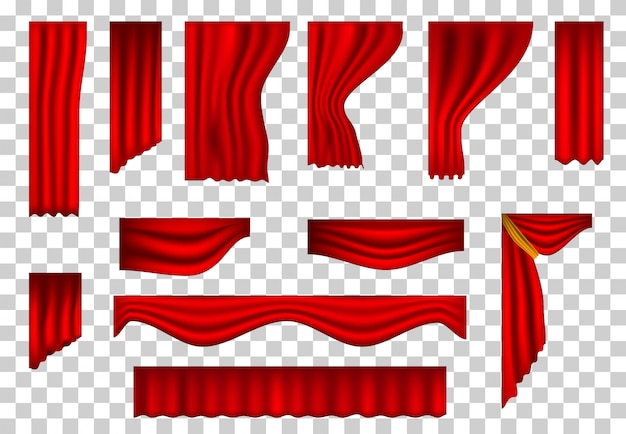 Set of realistic theater curtains