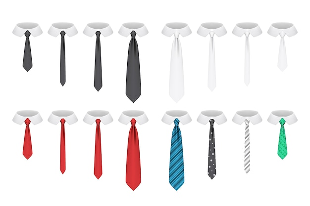 Set of realistic ties isolated on white background
