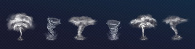 Set of realistic tornado vortices. different kinds of swirls with clouds and flying shards