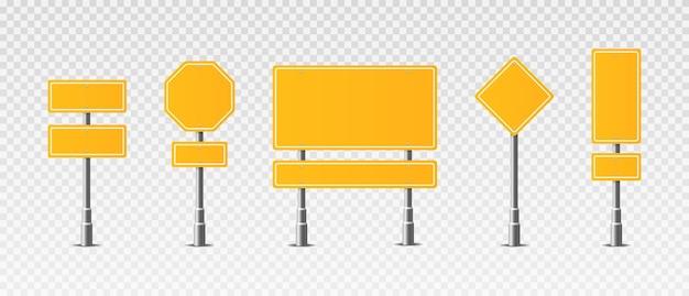 Set of realistic traffic signs roadsign symbol