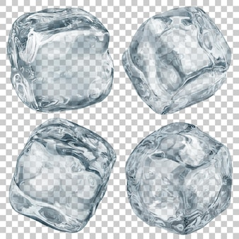 Set of realistic translucent ice cubes in gray color on transparent background. transparency only in vector format