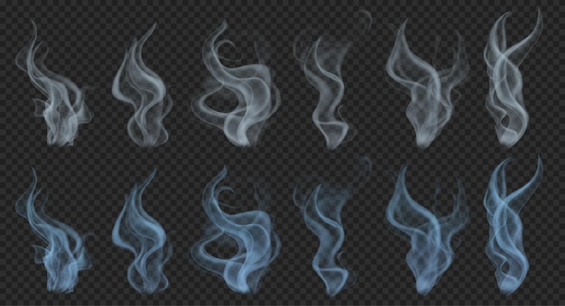 Set of realistic translucent smoke or steam in gray and light blue colors on transparent