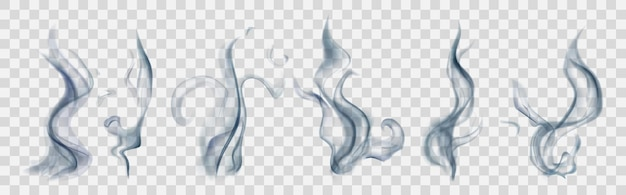 Set of realistic translucent smoke or steam in light blue colors