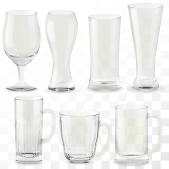 Set of  realistic transparent beer glasses. alcohol drink glass