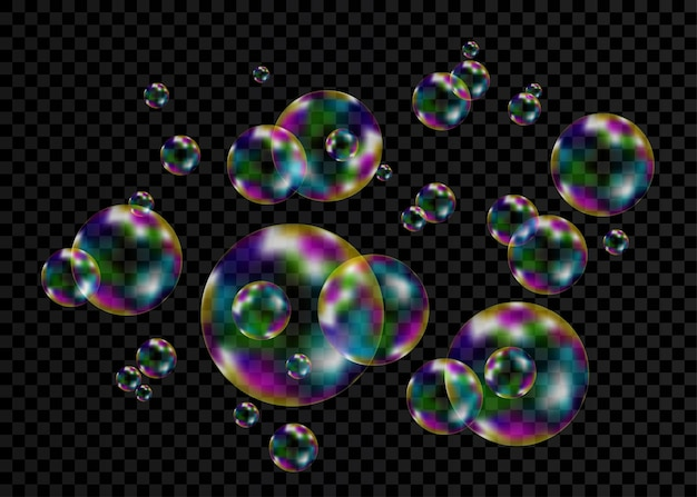 Set of realistic transparent colorful soap bubbles with rainbow reflection isolated on checkered