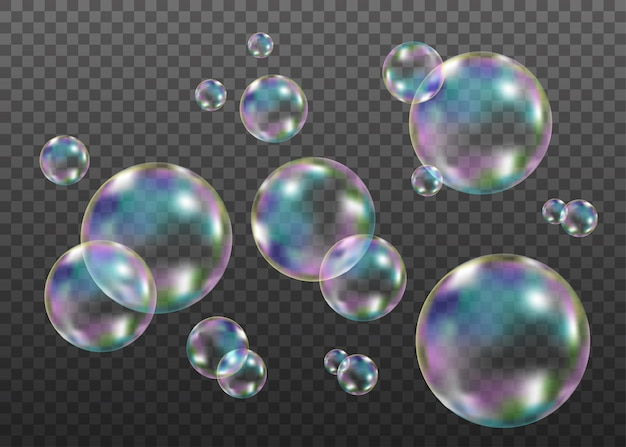 Set of realistic transparent colorful soap  bubbles with rainbow reflection