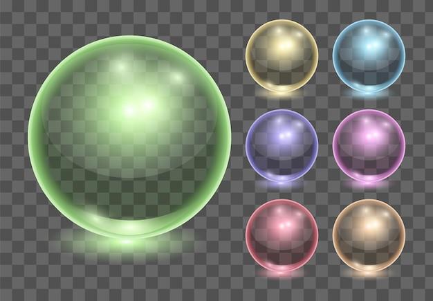 Set of realistic transparent glass balls