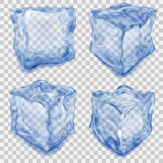 Set of realistic transparent ice cube in blue colors with shadows on transparent background