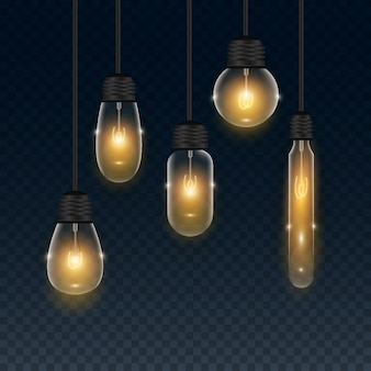 Set of realistic transparent light bulb