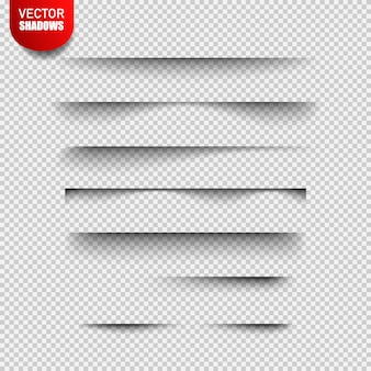 Set of realistic transparent shadow effects isolated on checkered ,