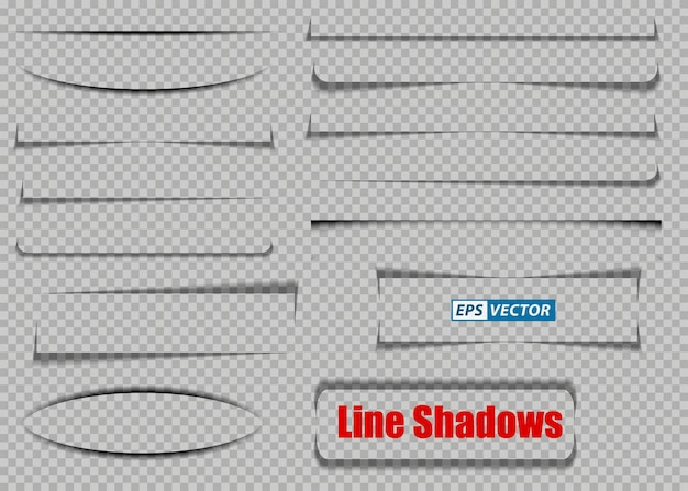 Set of realistic transparent shadows or paper transparent shadow effect or shadow line page divider