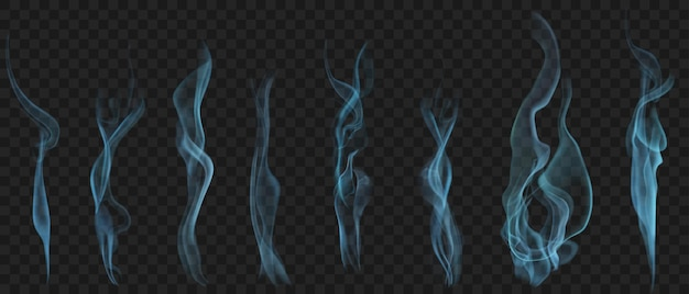 Set of realistic transparent smoke or steam in light blue colors