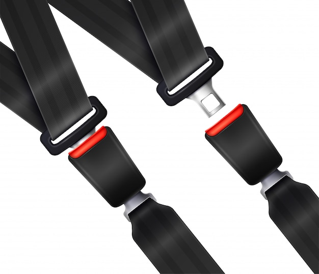 Set of realistic transportation seat belts with textured black strap illustration