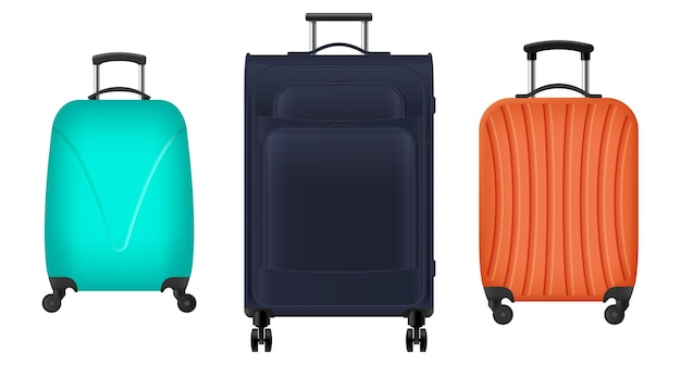 Set of realistic travel bags, plastic suitcases for luggage on wheels for airport flight, vacation