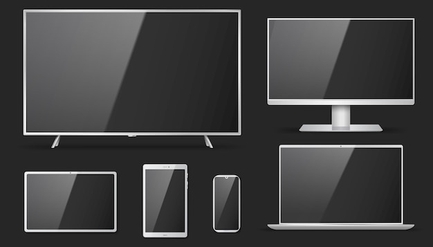 Set of realistic tv, lcd, led, computer monitor
