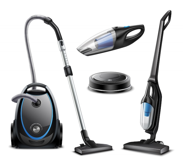 Set of realistic vacuum cleaners of various types