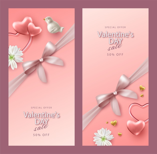 Set of realistic valentine's day banner. holiday composition with a porcelain birds, flowers and hearts
