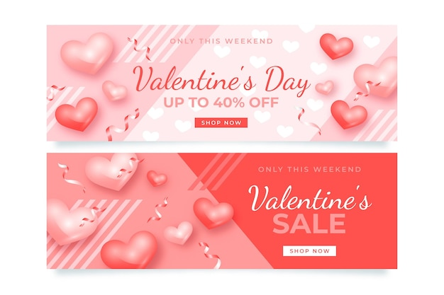 Set of realistic valentine's day sale banners