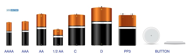 Set of realistic various alkaline batteries isolated or cylinder lithium battery rechargeable