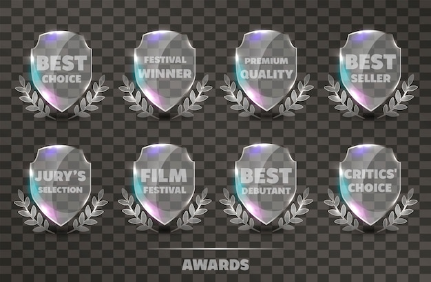 Set of realistic vector glass trophy awards.