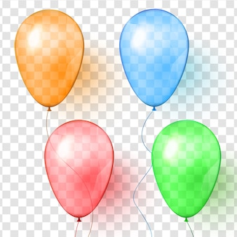 Set of realistic vector transparent colorful balloons.