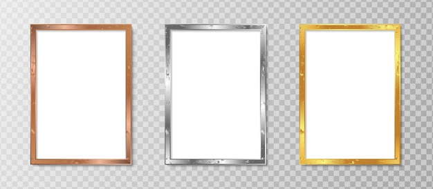 Set realistic vertical photo frame with luxury design