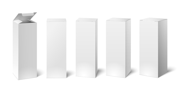 Set of realistic vertical tall cardboard rectangular cosmetic or medical packaging